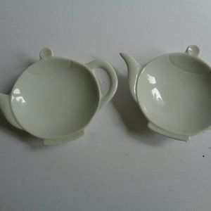 Vintage Mid-Century Tea Bag Holder White, a Pair